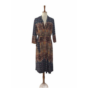 Fig and Flower Faux Wrap Dress Pullover Large